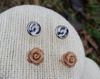 Animal Print, Delicate Earrings, Minimalist Earrings, Cabochon Earrings, Stud Earrings, Resin Flower Earrings, Flower Earrings, Gift for Mom