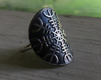 Helm of Awe Ring - Silver - Helm of Awe - Viking Jewelry