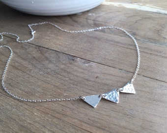 Triangle Necklace - - Handmade - - Sterling Silver Jewelry