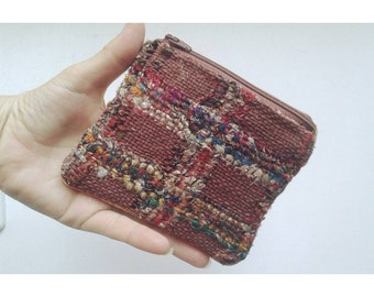 Gorgeous Pouch / Unique Handwoven Burlap & Leather Wallet / Burlap Pouch / Genuine Leather Pouch / Cream Color Leather Pouch