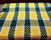 Oregon Ducks/ Oakland A's/ Green Bay Packers Inspired Throw/ Picnic Blanket/ Beach Blanket - Yellow, Dark Green and White Striped Blanket