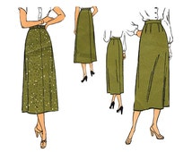 1940s A Line Skirt Sewing Pattern New York 580 Waist 28 In Two Versions Midi Length Vintage Sewing Pattern