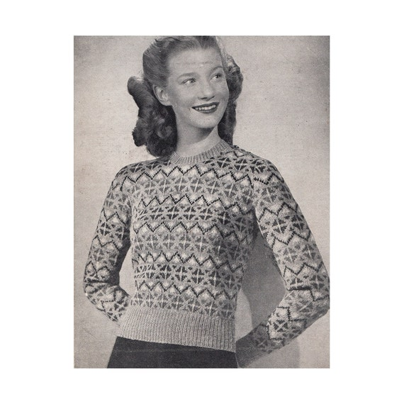 1930s Knitting Patterns : 1930s Fair Isle Sweater Knitting Pattern Bestway by Redcurlzs