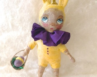 Spun cotton ornament bunny suit girl OOAK vintage craft by jejeMae Easter decoration