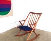 Mid Century Danish Modern Teak Rocking Chair FREE SHIPPING Retro Vintage Rocker Blue