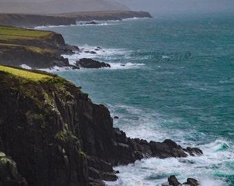 Ocean Photograph, Rustic Landscape, Ireland Photography, Blue Green Decor, Coastline Photo, Foggy Sky, Stormy Sea Photo, Cliff Photograph