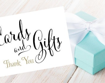 Cards and Gifts Sign   DIY PRINTABLE   Instant Download