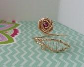 Adjustable Gold Ring, Garnet & 14K Gold Filled Rose Ring, Flower Ring Design, Made to Order, Free Shipping