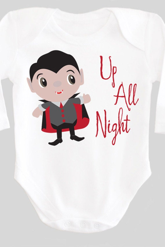 Up All Night Funny Vampire Halloween Shirt Baby by ...
