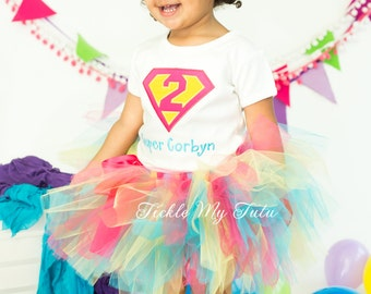 Supergirl Birthday Number Tutu Outfit-Supergirl Birthday Party Tutu Set-Superhero Birthday Tutu Set *Bow NOT Included*