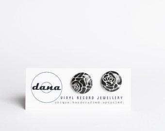 black round studs simple studs resin stud earrings cute studs floral earrings everyday earrings gift for her resin jewelry casual earrings