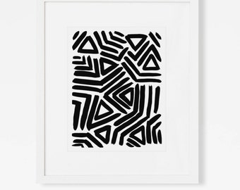 Abstract Geometric Art Print - Graphic Black and White Artwork - Minimalist Modern Wall Art - Vertical or Horizontal - 5x7, 8x10, 11x14