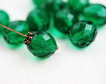 10mm Dark teal green beads, Czech glass beads, fire polished, green glass beads, faceted - 10pc - 2713