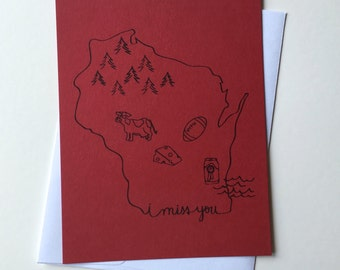 Greeting card - Wisconsin, Miss You, Thinking of You, Fall