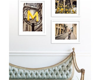 Gallery Wall Prints, Paris Photography Collection, Paris in Yellow, Large Wall Art, Print Sale, Eiffel Tower Decor, Paris Alley, Metro