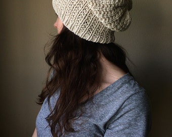 Thick Knit Slouchy Hat / Cream Ivory Neutral Knitted Slouch Hat / Vegan Yarn