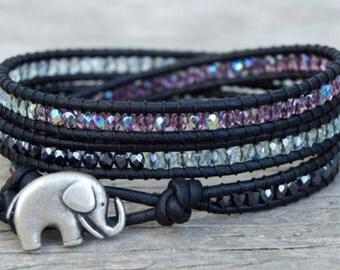 30% Off Leather Wrap Bracelet, Natural Black Leather, Chan Luu Inspired, Thin Tiny 3mm Czech Beads, Purple, Green Moss, Gunmetal, Elephant