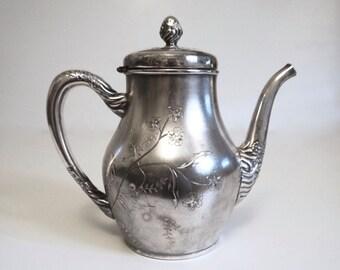 Silver Etched Teapot Pairpoint Quadruple Plate Victorian - Floyd Jones Vintage