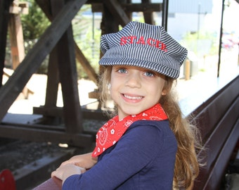 PERSONALIZED Train Hat and Bandanna, Thomas the Train, Train Costume, Toddler Train Hat, Train Birthday, Train Engineer Costume, Train Set