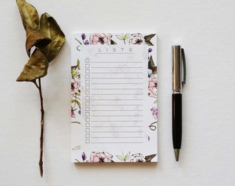 Floral To-Do List Notepad, Memo Pad, Grocery List Notepad