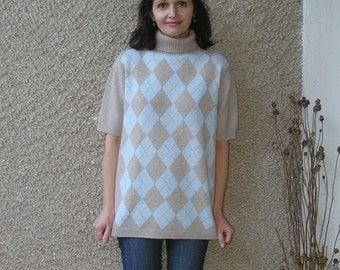 Vintage wool-blend knit blouse, size M-L