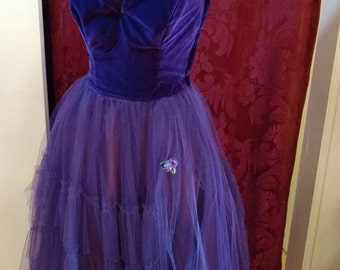 1950s Strapless Purple Velvet Tulle Gown