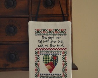 Heart Bible Verse Cross Stitch Wall Door Hanger