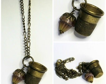Acorn and Thimble Peter Pan Hidden Kisses Necklace Vintage Brass and Vintage Acorn