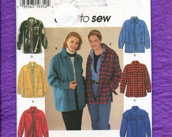 Simplicity 7315 Loose Fitting Shirt Jackets  Button or Zip Up and Button Cuffs Sizes XS-S-M UNCUT