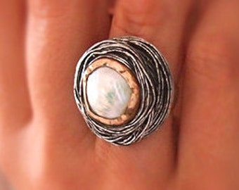 """Statement Pearl Ring, Unique, Handmade Wire Wrap White Pearl ring, Sterling Silver, Ottoman Jewelry, """" Sultan's Hat """""""