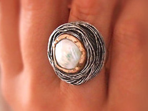 "Two Tone Statement Ring, Pearl w Soldered Swirl Wire, Sterling Silver, Cocktail Ottoman Jewelry,  "" Sultan's Hat "", Adjustable"