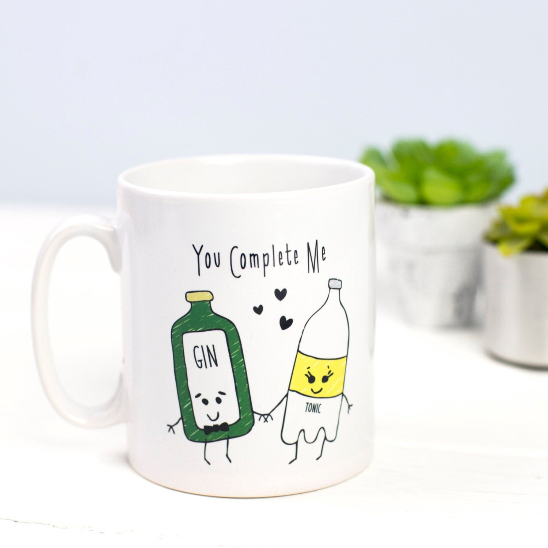 Best Coffee Mugs Gin Mug Funny Mug Gin Mug Couple Gift Love Illustration