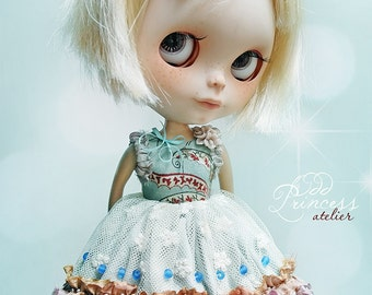 Blythe Dress LOVE IS In The AIR Romantic Ooak Victorian Outfit By Odd Princess Atelier, Shabby Chic, Blue Beige Special Dress