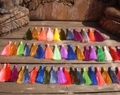 "Set Of 50 Silky Tassels 2"" inches Mix Colors, Same Color Tie Thread"
