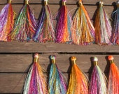 "Beautiful Rayon Hand made Tassels 3"" inches Set Of 20  Mixed Threads"