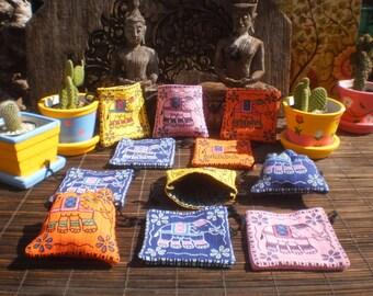 Elephant Print,12 Jewelry Gift Purses,Set Of 12, Coin Purse, Tribal Purse , Draw String Bag, Folk Art Bag, Little Bag
