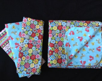 Wild Flowers and Woodland Animals Flannel Baby Blanket and Burp Cloth Set, Ready to Ship, Baby Gift Set