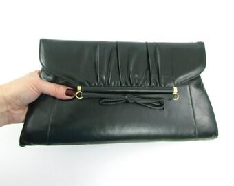 Hunter Green Bow Clutch Purse - Vintage 1980s NOS Shoulder Bag in Dark Green by Mastercraft
