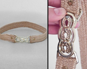 Lucky HORSESHOE Belt 1970s / Stretchy Jute Straw Size XS Small