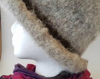 Handspun Handknit Felted Woman's Hat