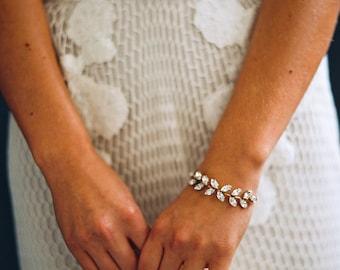 Bridal Jewelry, Crystal Bracelet, Rhinestone Leaf Bracelet -Style 0816