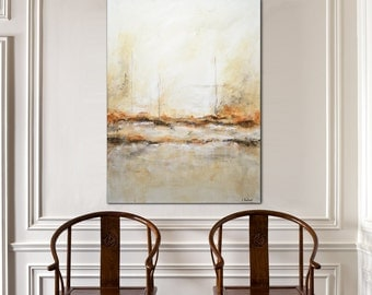 30 x 40 Large original modern abstract painting contemporary art sienna wall art abstract painting by L.Beiboer