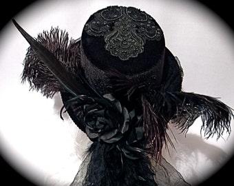 Black Goth Top Hat Victorian Riding Hats Steampunk Hat GO-103
