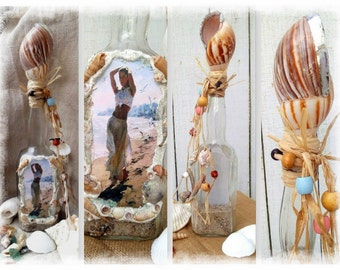 Nice and tall,Soldered Shell Bottle, Beach Walking, Altered Boho Bottle, Sand and Surf From Coastal North Carolina