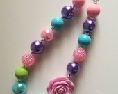 chunky bead necklace baby necklace purple green turquoise pink bubble gum chunky baby necklace big girl necklace big bead necklace