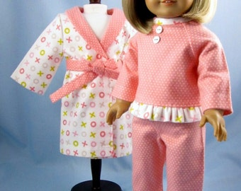 Doll Clothes 18 Inch - Pajamas and Robe - 18 Inch Doll Clothing - fits American Girl Dolls - hugs and kisses