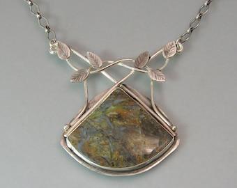 Mountain jasper vine necklace - OOAK gemstone pendant necklace - woodland necklace - artisan jewelry - Celtic inspired metalsmith necklace