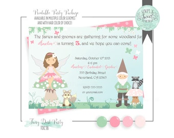 Fairy gnome invite etsy fairy invitation fairy gnome birthday party in pink and sage jpegpdf stopboris Image collections