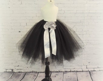 Girls tulle skirt black and silver tulle skirt photo prop for girls party dress special occasion halloween tutu for girls gothic flower girl