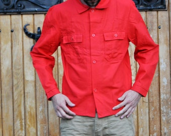 Vintage Bright Red Working Jacket Button Up Shirt